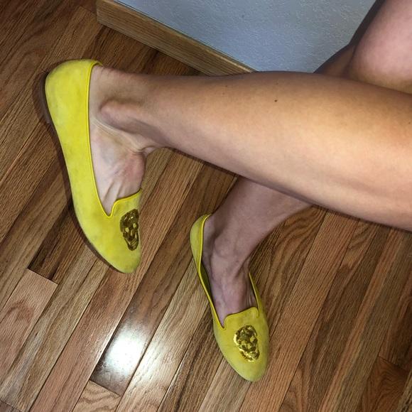 Alexander McQueen Shoes - Alexander McQueen Suede Skull Round Toe Flats